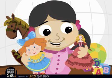 Chica jugando con muñecas y juguetes.
