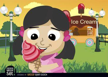 Niña comida cono de helado en el estacionamiento
