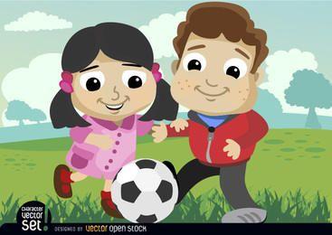 Niños jugando con balón de fútbol.