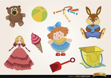 Conjunto de bonecos e ursinhos de brinquedos