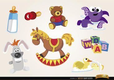 Conjunto de brinquedos e elementos de bebê