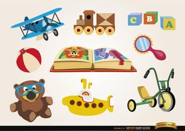 Conjunto de brinquedos engraçados dos desenhos animados