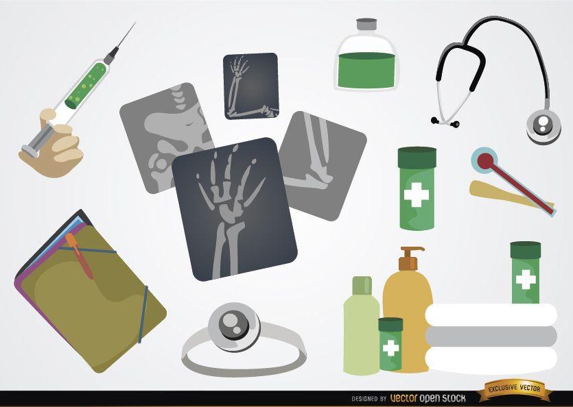 Conjunto de elementos de dibujos animados médicos