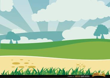 Grüne Landschaft der Karikatur