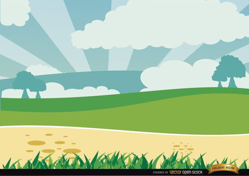 Cartoon Green Landscape