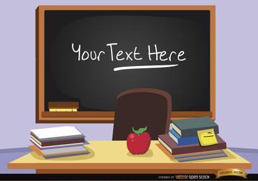 Pizarra en aula con texto