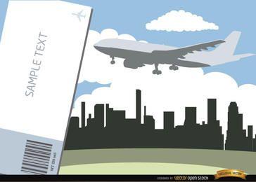 Avión volando horizonte de la ciudad y boleto
