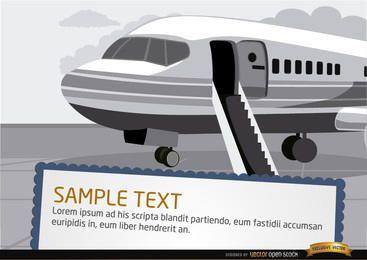 Avião com escada no aeroporto