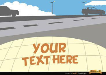 Coches en el camino con el espacio de texto