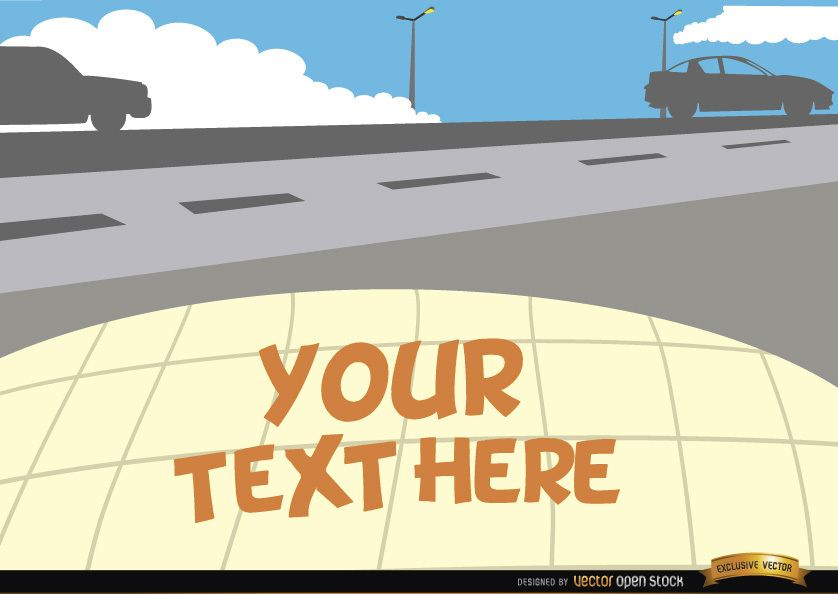 Vehículos en la carretera con espacio de texto.