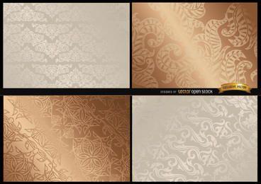 Texturas florais brilhantes elegantes