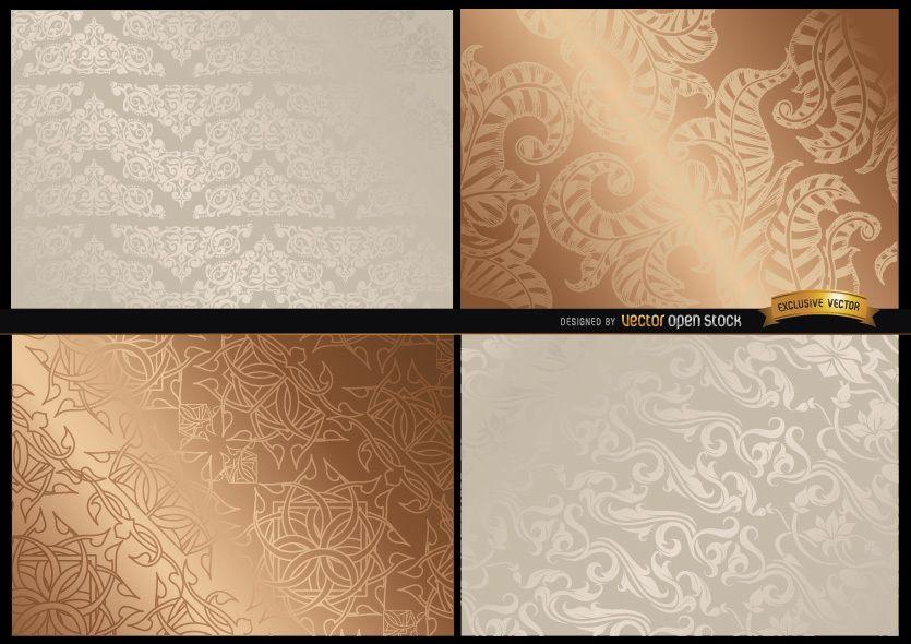 Texturas florales elegantes y brillantes