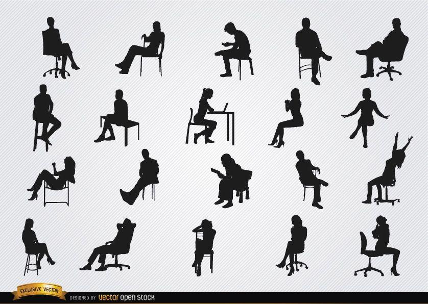 Menschen sitzen in Stühlen Silhouetten