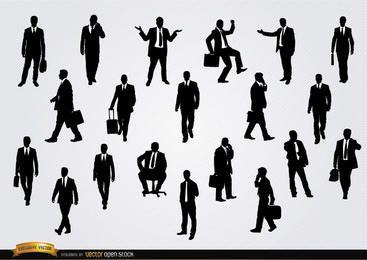 Empresários em silhuetas de diferentes situações
