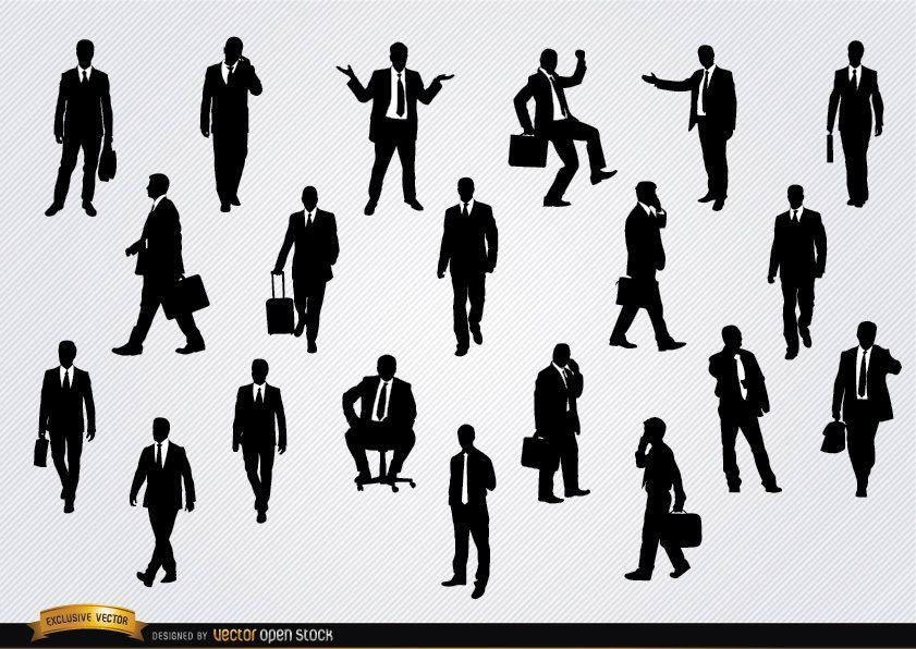 Empresarios en siluetas de diferentes situaciones.