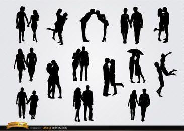 Casais em conjunto de silhuetas de amor
