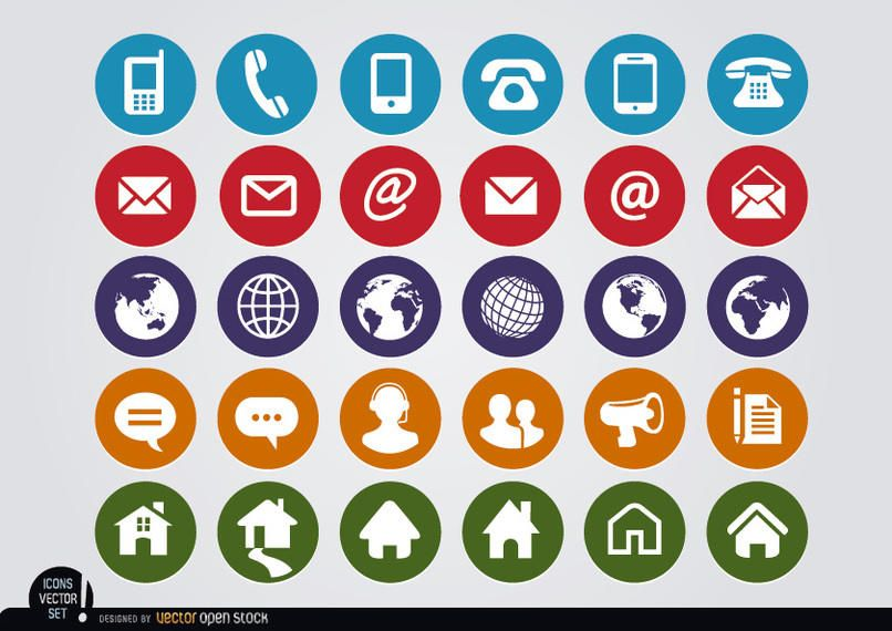 Round Web Contact Icons Set Vector Download