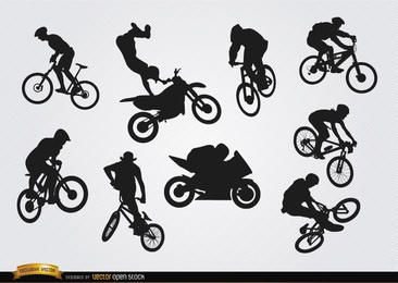 Fahrrad-Motocross-BMX-Silhouetten