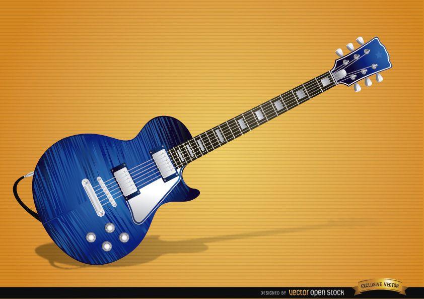 Instrumento de guitarra eléctrica azul