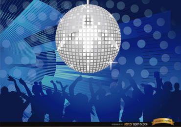 Festa na noite de discoteca com bola de espelhos