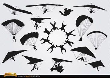 Paracaídas y parapentes siluetas de paracaidismo.