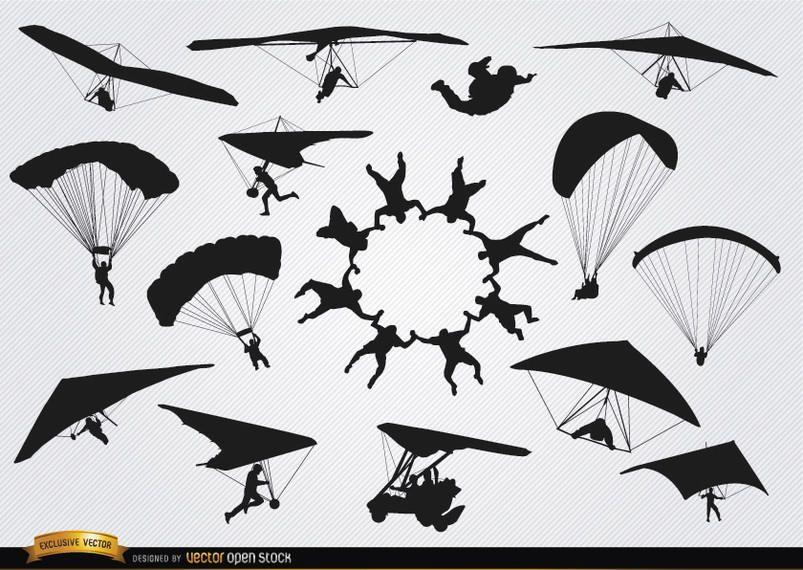 Fallschirme und Fallschirmspringer-Silhouetten