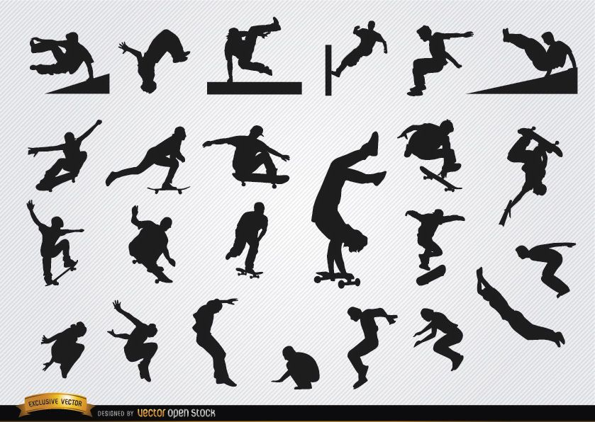 Parkour and skateboarding silhouettes