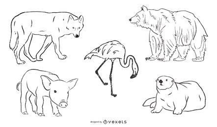Black & White Animal Sketch Pack