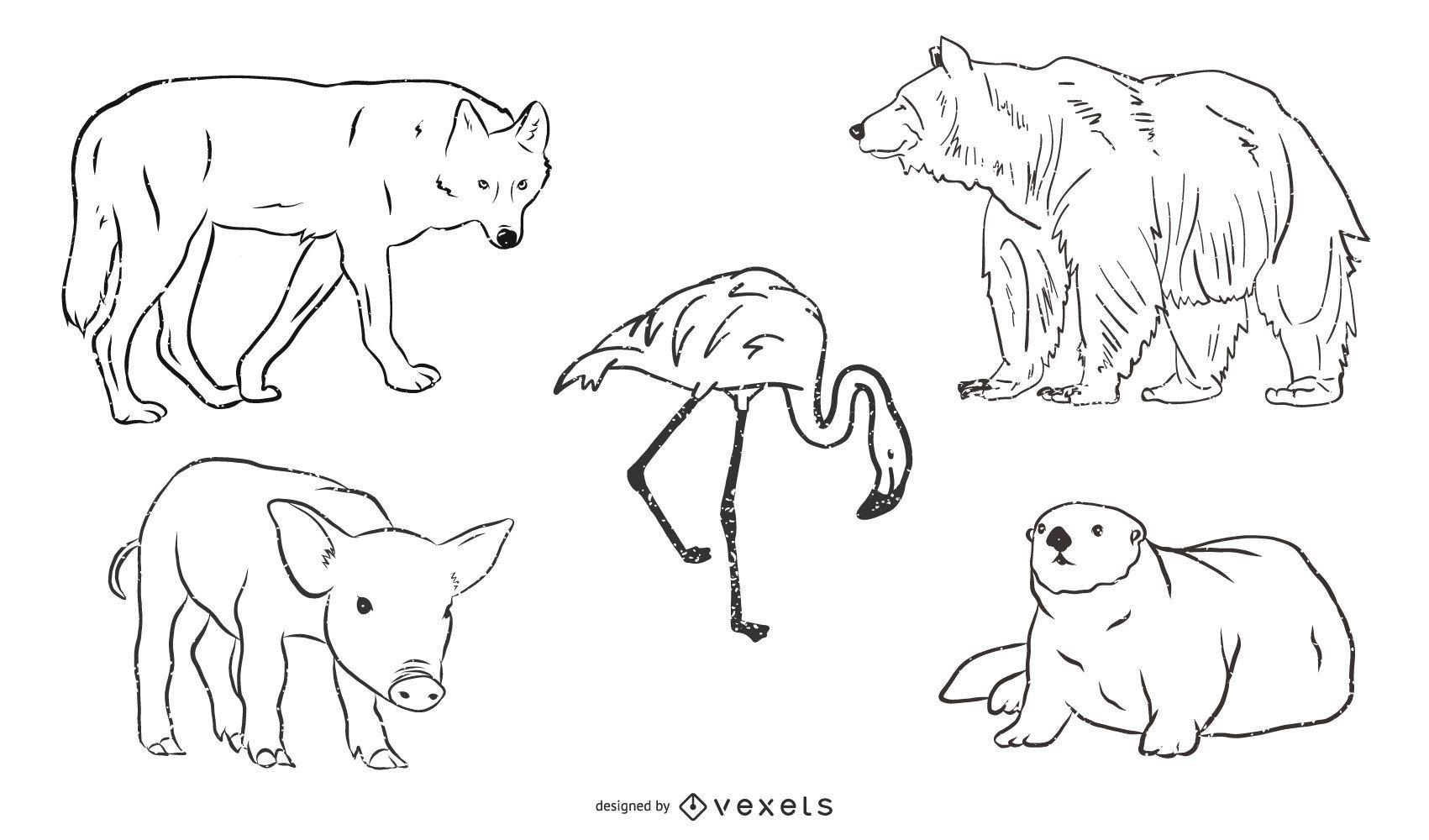 Paquete de bocetos de animales en blanco y negro