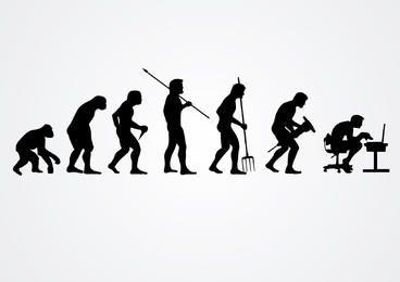 Evolução de silhuetas de trabalho humano