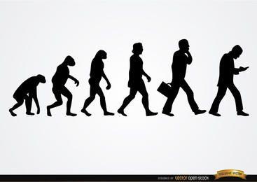 Silhuetas de evolução do empresário