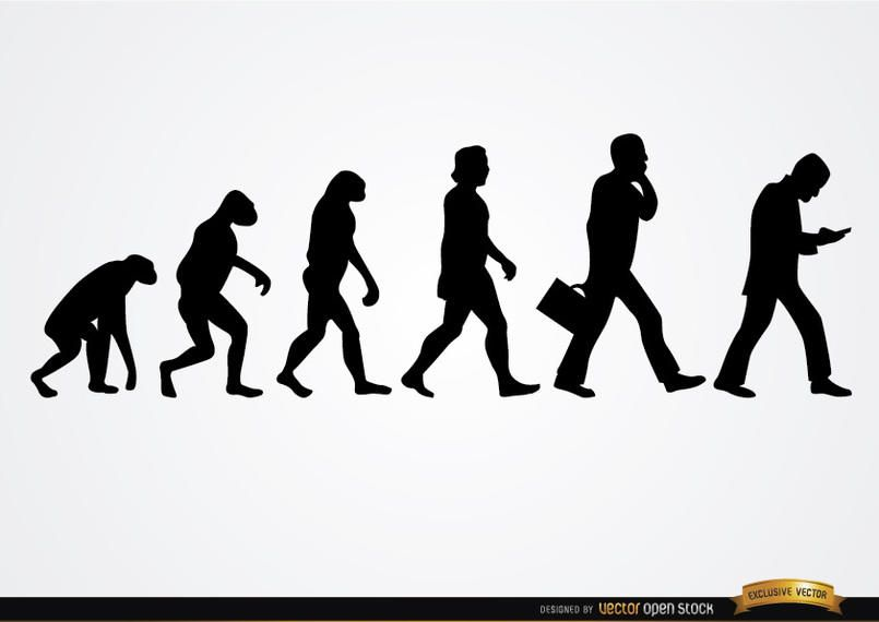 Businessman evolution silhouettes
