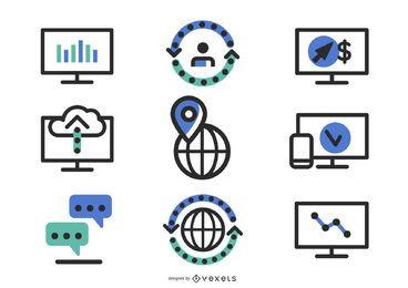 100s de iconos web de silueta
