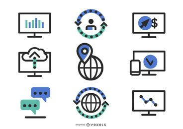Cientos de iconos web de silueta