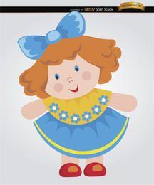Kleines Mädchen der Flickenpuppe-Karikatur