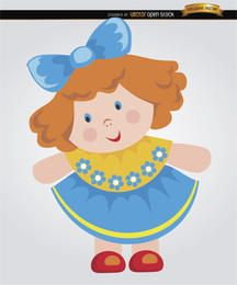 Rag doll cartoon little girl