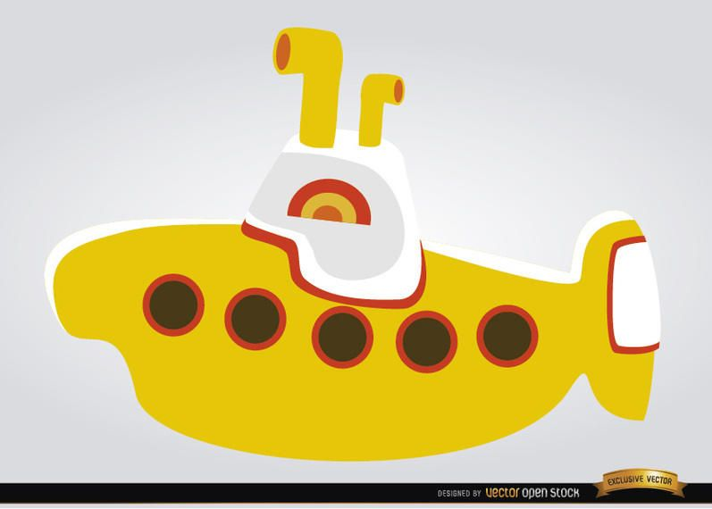 Yellow submarine children toy vector download