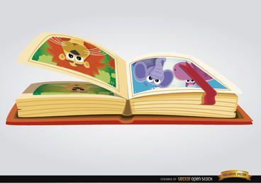 Libro infantil con imágenes de dibujos animados.
