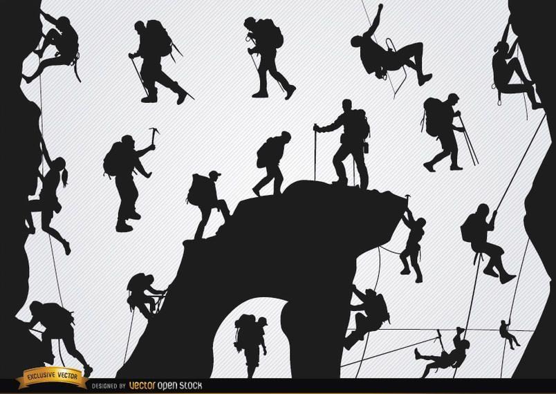 Conjunto de siluetas de montañismo