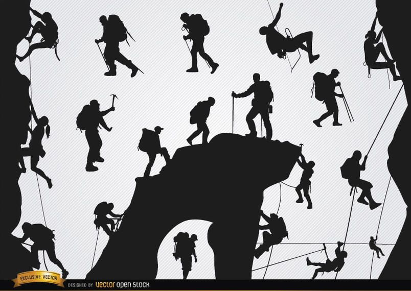 Mountain climbing silhouettes set