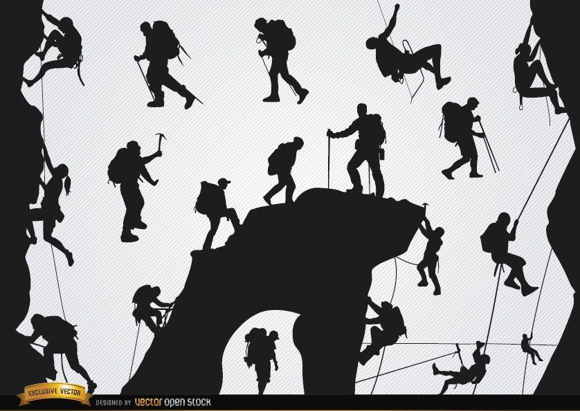 Mountain climbing silhouettes set