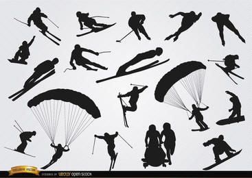 Snow sports silhouettes set