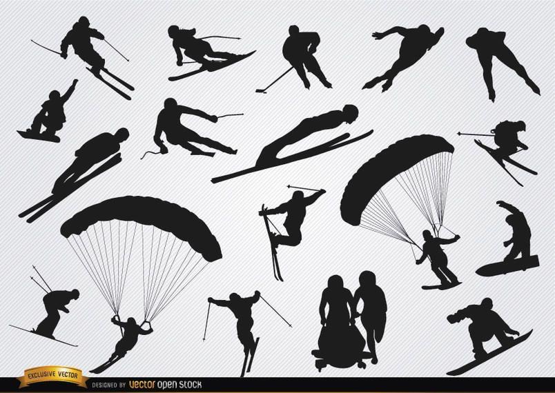 Snow sports silhouettes set