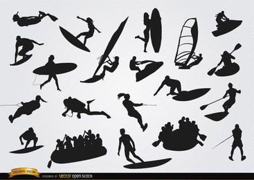 Conjunto de siluetas de deportes acuáticos.