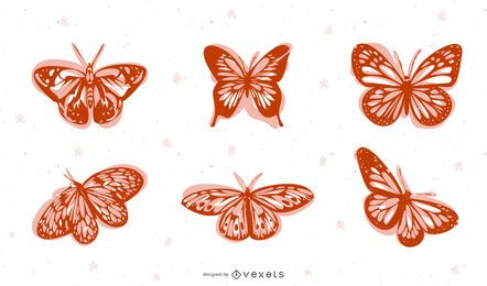 Pack de mariposas silueta decorativa