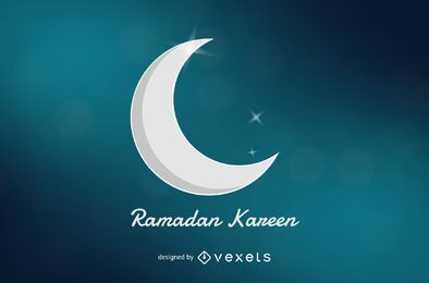 Ramadan Kareem brilhante lua crescente fundo