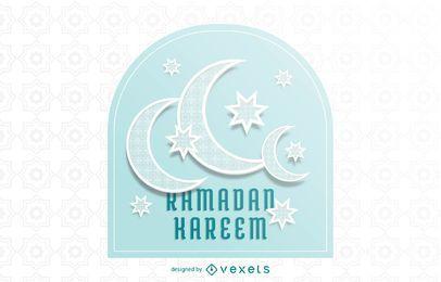 Impresionante tipografía de la Luna Creciente Ramadán