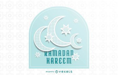 Impressionante crescente lua Ramadã tipografia