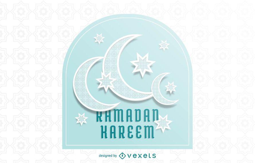 Atemberaubende Halbmond-Ramadan-Typografie