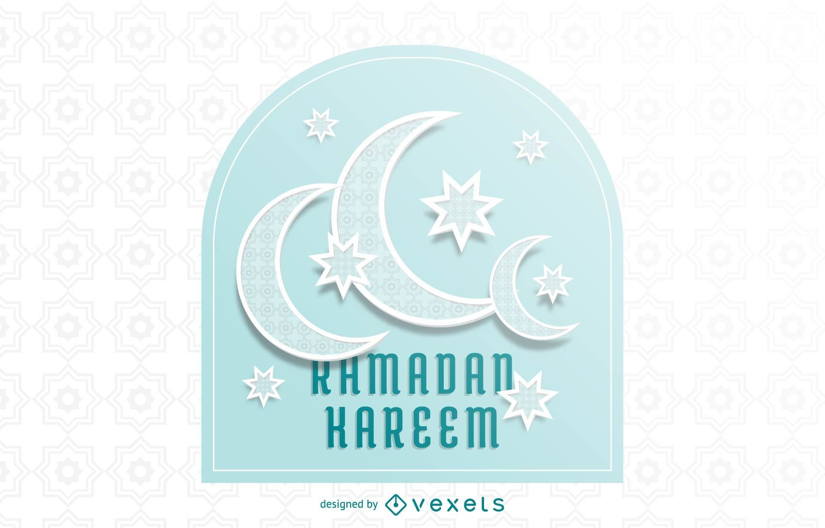 Impresionante tipografía Crescent Moons Ramadán